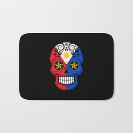 Sugar Skull with Roses and Flag of Philippines Bath Mat