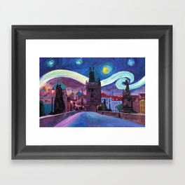 Starry Night in Prague - Van Gogh Inspirations on Charles Bridge Framed Art Print