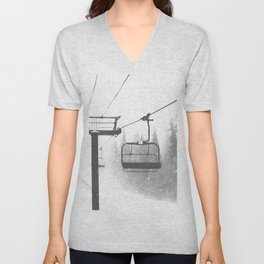 Chairlift Abyss // Black and White Chair Lift Ride to the Top Colorado Mountain Artwork Unisex V-Neck