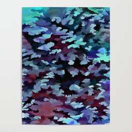 Foliage Abstract Camouflage In Aqua Blue and Black Poster