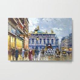 Avenue de l'Opera, Paris, France Landscape by Antone Blanchard Metal Print