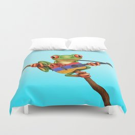 Tree Frog Playing Acoustic Guitar with Flag of Armenia Duvet Cover