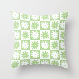 Green And White Checkered Flower Pattern Throw Pillow