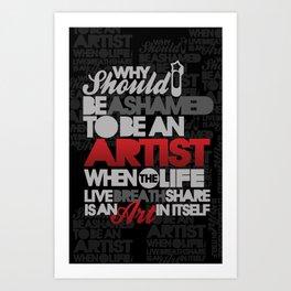 I am Artist (Black) Art Print