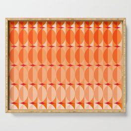 Leaves at sunset - a pattern in orange and red Serving Tray