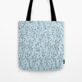 Blue, White, Black and Gray Floral Pattern Tote Bag