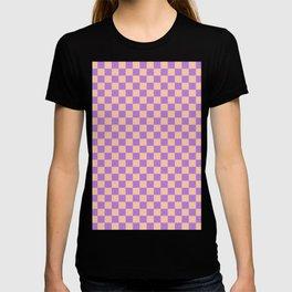 Deep Peach Orange and Lavender Violet Checkerboard T-shirt