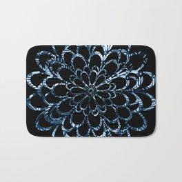 Ice Blue Floral Design Bath Mat