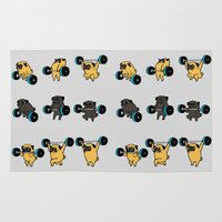 pugs Area & Throw Rugs featuring OLYMPIC LIFTING PUGS by Huebucket