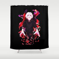 tokyo ghoul Shower Curtains featuring Kaneki Tokyo Ghoul 4 by Prince Of Darkness
