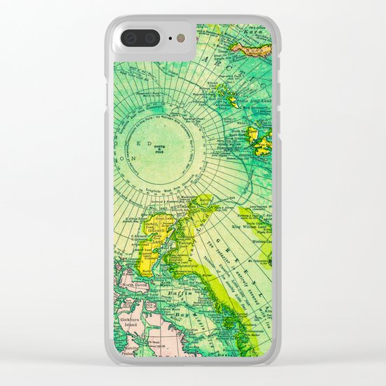 Colorful Map of the North Pole - Vintage Clear iPhone Case