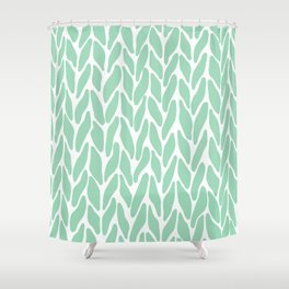 Hand Knitted Mint Shower Curtain