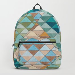 Triangle Patter No.15 Shifting Teal and Yellow Backpack