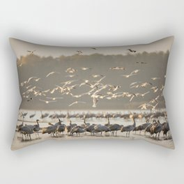 Common Cranes at sunrise Rectangular Pillow