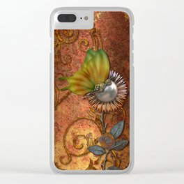 Steampunk butterfly Clear iPhone Case