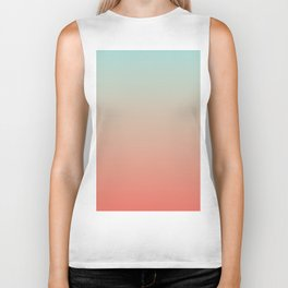 Ombre Living Coral with Turquoise Biker Tank