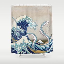 Haku and the Great Wave Shower Curtain