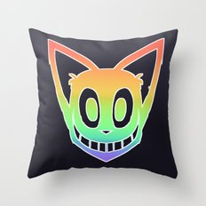 Rainbow Cat Head (white outline) Throw Pillow