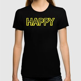 Happy Yellow Black T-shirt