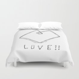 Love! Love! Love! - Heart Illustration Pop Art Duvet Cover