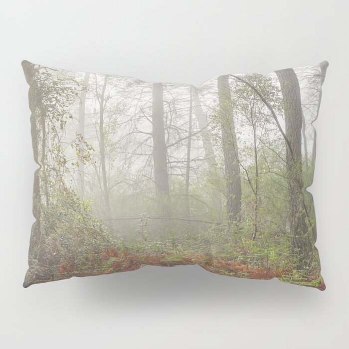 Serenity morning... Into the foggy woods Pillow Sham