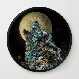 floral animals howling wolf Wall Clock
