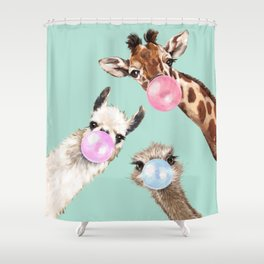 Bubble Gum Gang in Green Shower Curtain