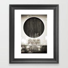 Jizo in Black and White, Kyoto Framed Art Print