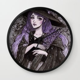 Lavender Witch- Day6 Inktober Wall Clock