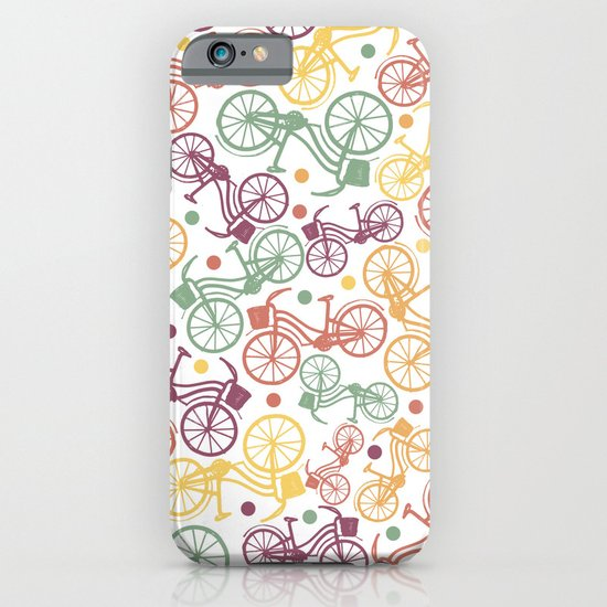 Whimsical bicycle pattern & retro polka dots iPhone & iPod Case