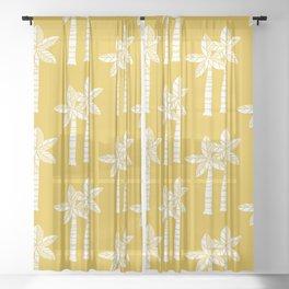 Palm Tree Pattern Mustard Yellow Sheer Curtain