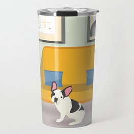Hanging Plants And A French Bulldog In A Midcentury Interior Travel Mug