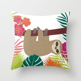 Tropical Sloth Throw Pillow