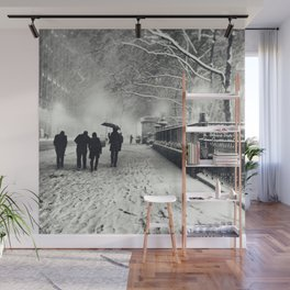 New York City Snow Bryant Park Wall Mural