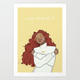 Cozy Sweater as Self Care - illustrated girl in warm tones Art Print