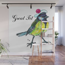 Great tit in white beret Wall Mural