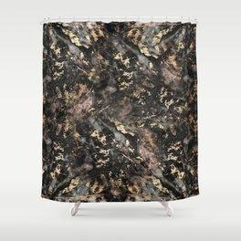 Gold Vein Black Marble Design Shower Curtain
