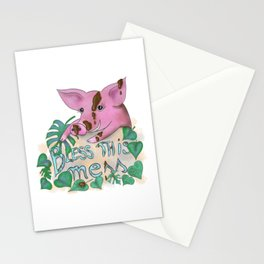 Bless this mess muddy pig Stationery Cards
