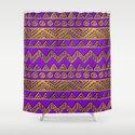 Ethnic  Golden Pattern  Swirl on Purple Leather by k9printart