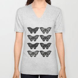 Monarch Butterfly - Black and White Unisex V-Neck