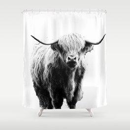 Newspaper Print Style Highland Cow. Scotland, Bull, Horns. Shower Curtain