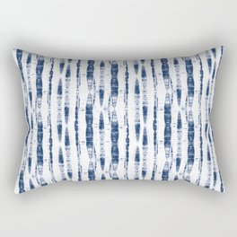 Shibori Stripes 2 Indigo Blue Rectangular Pillow