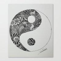 yin yang Canvas Prints featuring Yin Yang by Ian Nicholson