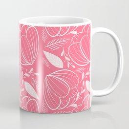White Flowers Pattern Coffee Mug