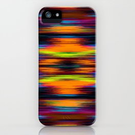vintage psychedelic geometric abstract pattern in orange brown blue yellow iPhone Case
