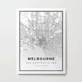 Melbourne Modern Map Metal Print