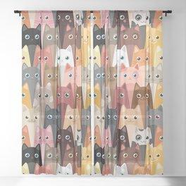 Cats Pattern Sheer Curtain