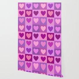 Hearts 3x3 Pinks Purples Mauves Wallpaper