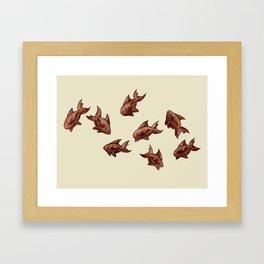 Coffee Bean Sharks Framed Art Print