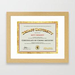 Drumpf University – Certificate in Choke Artistry Framed Art Print